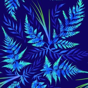 Fern Leaves - Blue