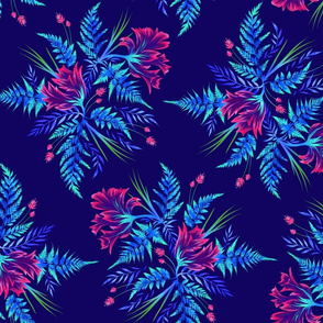 Parrot Tulips & Ferns - Navy/Pink