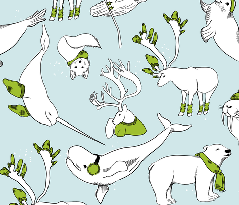 Arctic Animals Cozy and Warm fabric by sidesignloft on Spoonflower - custom fabric