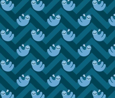 Sloths and chevrons (blue) fabric by petitspixels on Spoonflower - custom fabric