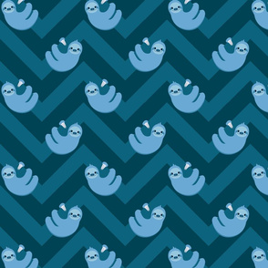 Sloths and chevrons (blue)