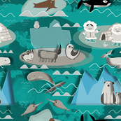 Arctic animals aqua