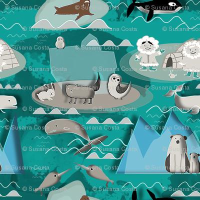 Arctic animals aqua