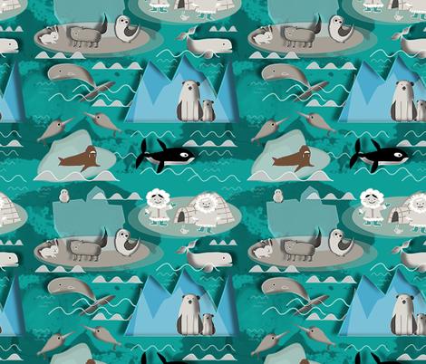Arctic animals aqua fabric by bruxamagica on Spoonflower - custom fabric