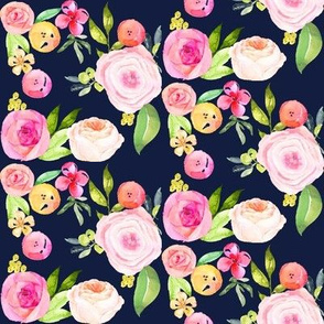 Watercolor Peonies + Poppies // Navy -SMALL PRINT