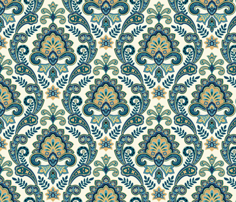 Regal Paisley White fabric by barbarapixton on Spoonflower - custom fabric