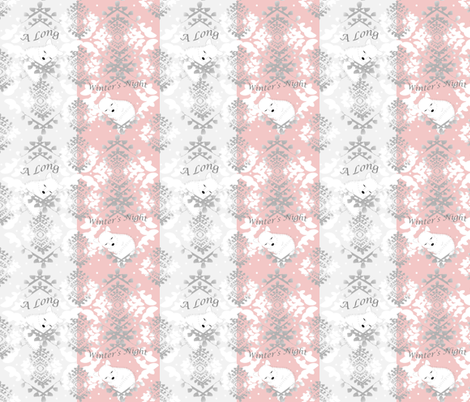 Artic Foxes Lullaby-Pink & Precious fabric by gracelillydesigns on Spoonflower - custom fabric