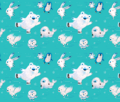 arctic ice skating fabric by dramacatz on Spoonflower - custom fabric