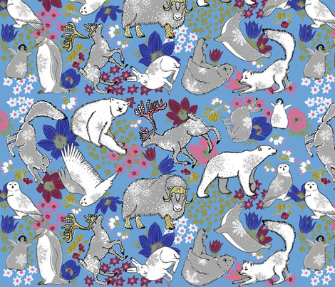 Arctic Summer on boy blue fabric by helenpdesigns on Spoonflower - custom fabric