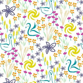 sun-flowers-swans-pattern 150dpi