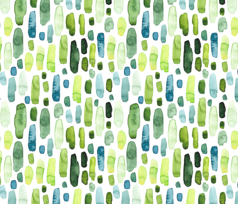 Green Watercolor Stripes fabric by hipkiddesigns on Spoonflower - custom fabric
