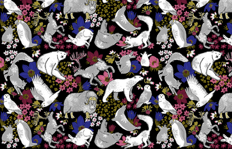 Arctic Summer (black) fabric by helenpdesigns on Spoonflower - custom fabric