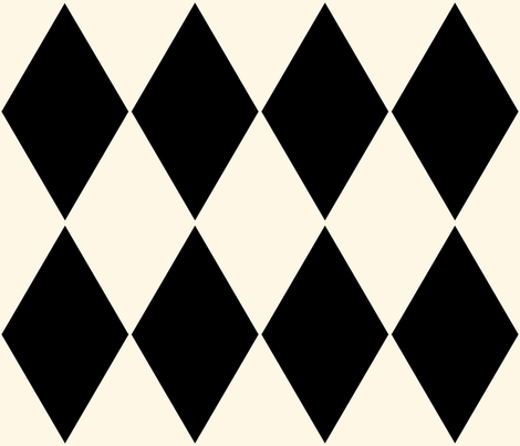 Harlequin Diamonds ~ Cosmic Latte and Black ~ Large fabric by peacoquettedesigns on Spoonflower - custom fabric