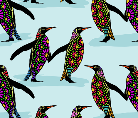 penguins in colour fabric by linsart on Spoonflower - custom fabric