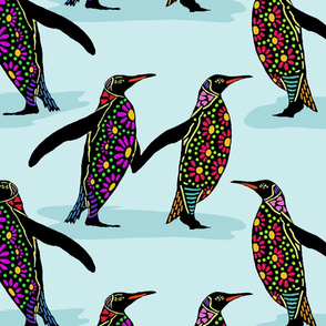 penguins in colour