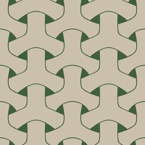 Triple Weave Large -  Light Grey on Green