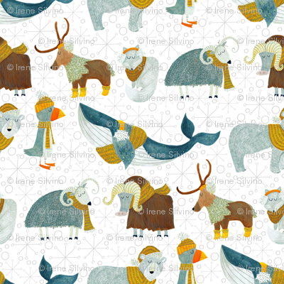 Pattern #72 - Arctic Animals with woolly scarves