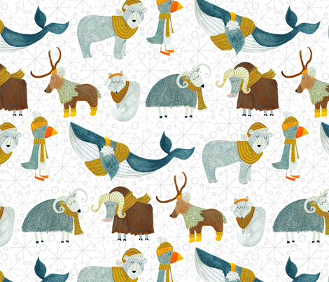 Pattern #72 - Arctic Animals with woolly scarves fabric by irenesilvino on Spoonflower - custom fabric