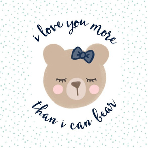 """18"""" square  - I love you more than I can bear - navy bow w/ mint  dots"""