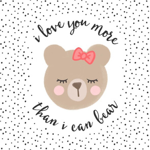 """18"""" square  - I love you more than I can bear - red bow w/ black dots"""