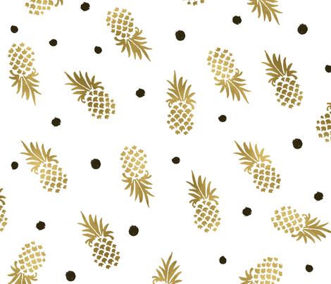 Gold_Pineapples_Dots_large fabric by crystal_walen on Spoonflower - custom fabric