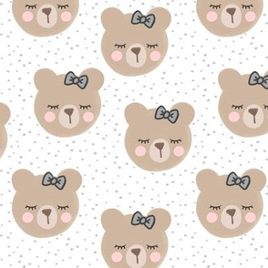 bears with bows - light grey