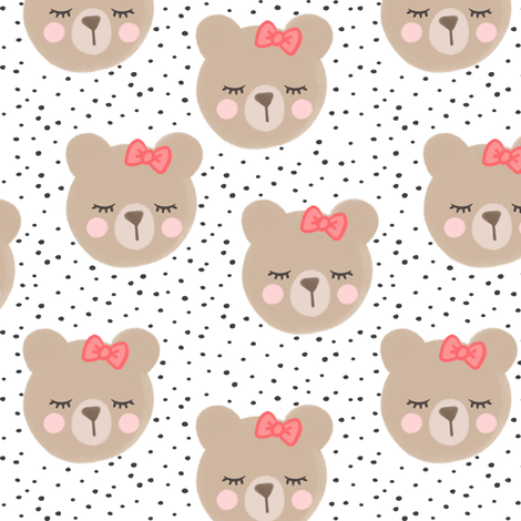 bears with bows - grey and white fabric by littlearrowdesign on Spoonflower - custom fabric