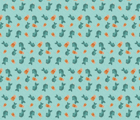 Narwhal and Lion's mane jellyfish fabric by oquezii on Spoonflower - custom fabric