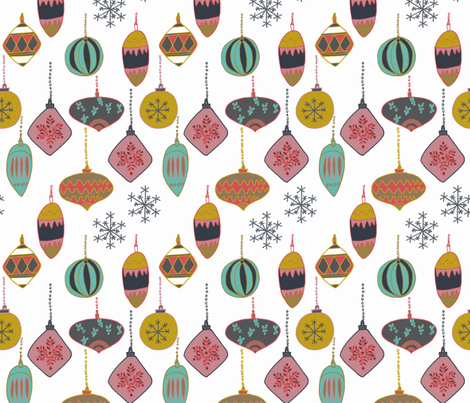 christmas baubles  fabric by claireybean on Spoonflower - custom fabric