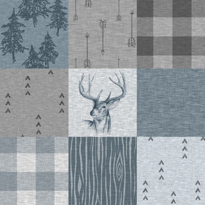 Buck Woodland Wholecloth Quilt - Slate Blue - Plaid, Buck, Trees, Arrows