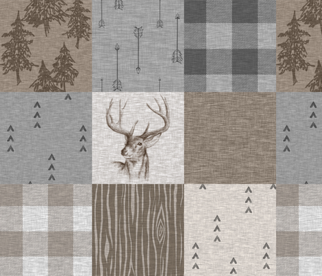 Rustic Buck Wholecloth Quilt - Soft Brown And Grey fabric by sugarpinedesign on Spoonflower - custom fabric
