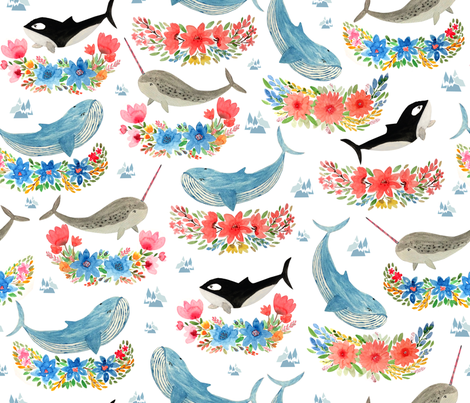 arctic whales florals fabric by y_me_it's_me on Spoonflower - custom fabric
