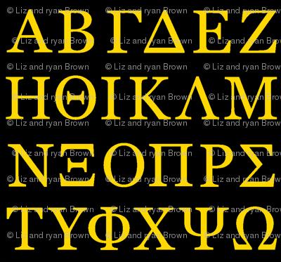 Greek Letters // Gold & Black giftwrap - thinlinetextiles