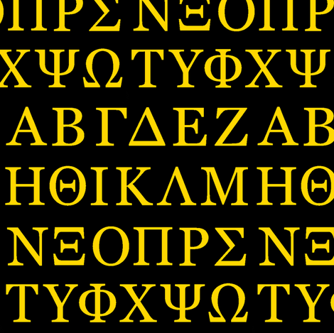 Greek Letters // Gold & Black fabric by thinlinetextiles on Spoonflower - custom fabric