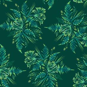Parrot Tulips & Ferns - Green