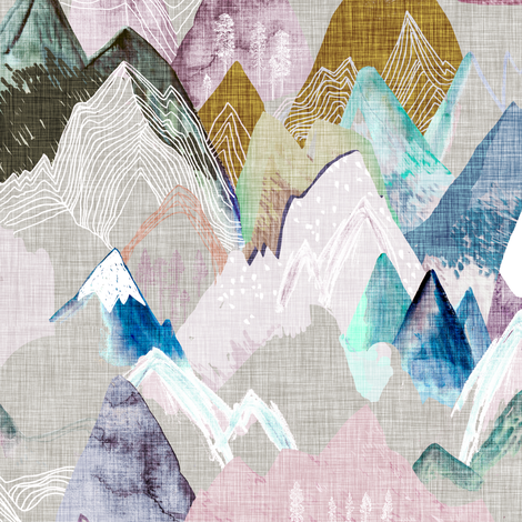 Call of the Mountains (pastel) fabric by nouveau_bohemian on Spoonflower - custom fabric