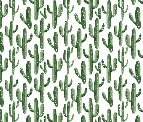 Southwest Cactus Watercolor fabric by hipkiddesigns on Spoonflower - custom fabric