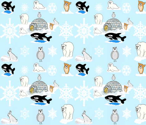 Arctic Snow Friends_1 fabric by charldia on Spoonflower - custom fabric