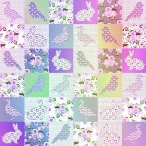 "3"" PURPLE GREEN RAINBOW CHEATERQUILT FARM ANIMALS AND ROSES FLOWERS BABY PATCHWORK DUCK RABBIT GOOSE BIRD"