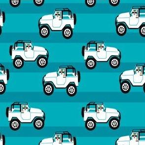 cute corgi in white jeep fabric - corgi in cars - blue teal