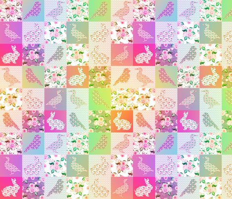 "2"" PINK ORANGE CHEATERQUILT FARM ANIMALS AND ROSES FLOWERS BABY PATCHWORK DUCK RABBIT GOOSE BIRD fabric by floweryhat on Spoonflower - custom fabric"