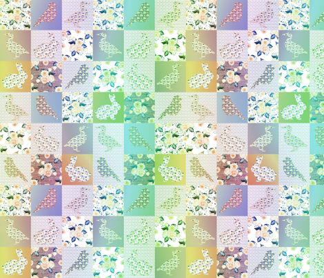 "2"" GREEN CHOCOLATE AQUA CHEATERQUILT FARM ANIMALS AND ROSES FLOWERS BABY PATCHWORK DUCK RABBIT GOOSE BIRD fabric by floweryhat on Spoonflower - custom fabric"
