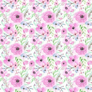 Spring Floral - Watercolor Flowers Pink Blue Garden Blooms Baby Girl Nursery GingerLous (TINY) C