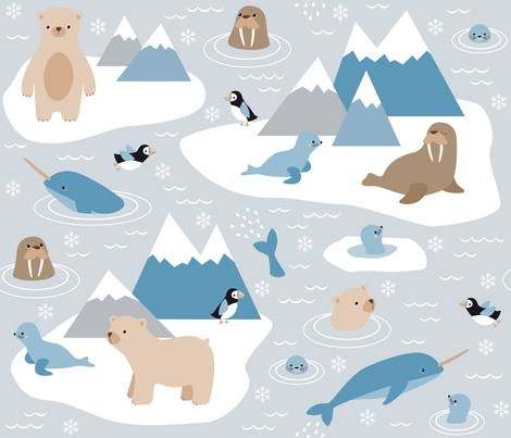 arctic animals fabric by heleenvanbuul on Spoonflower - custom fabric