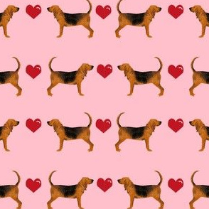bloodhound hearts love dog breed fabric pink