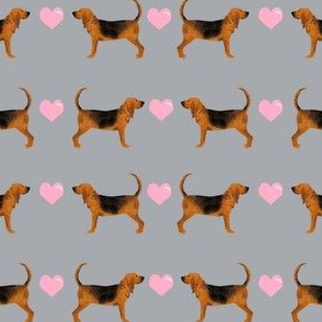 bloodhound hearts love dog breed fabric grey pink