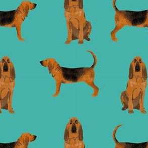 bloodhound dog breed fabric dog lover pet friendly turquoise