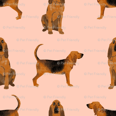 bloodhound dog breed fabric dog lover pet friendly peach