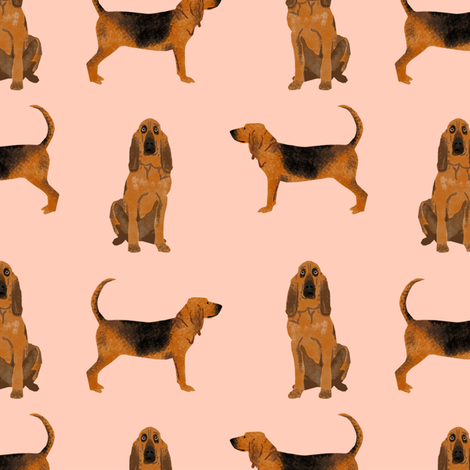 bloodhound dog breed fabric dog lover pet friendly peach fabric by petfriendly on Spoonflower - custom fabric