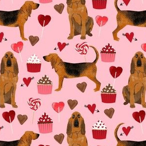 bloodhound valentines cupcakes hearts dog breed fabrics pink